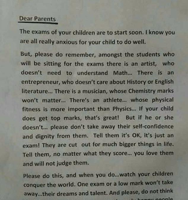 Письмо директора школы в Сингапуре, отправленное родителям накануне экзаменов