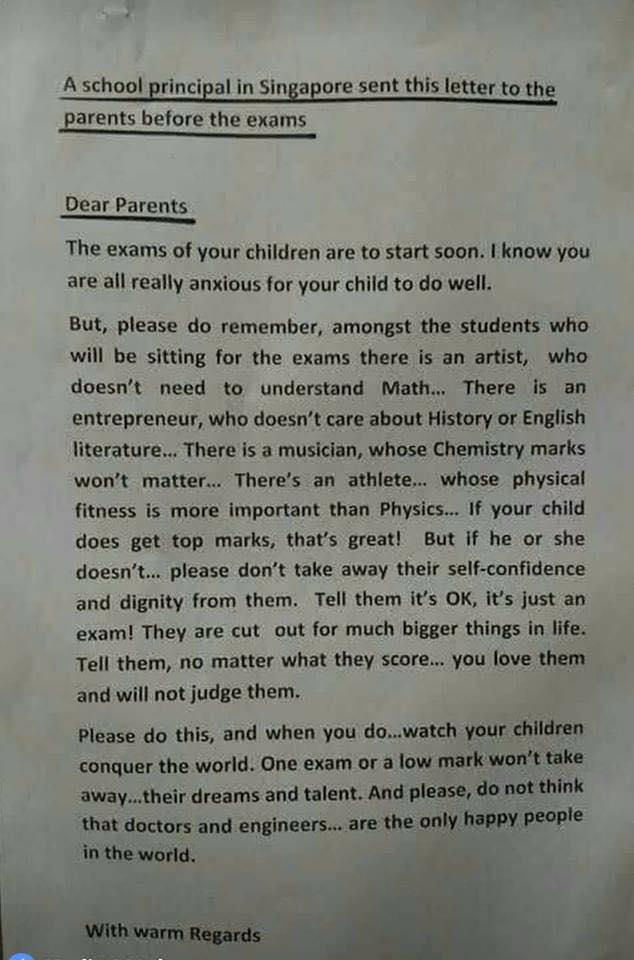 Письмо директора школы в Сингапуре