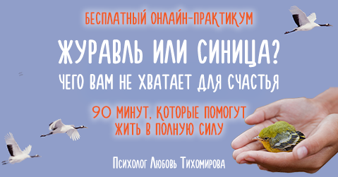 Онлайн-практикум «Журавль или синица? Чего вам не хватает для счастья» | Любовь Тихомирова