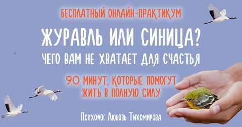 Бесплатный онлайн-практикум «Журавль или синица? Чего вам не хватает для счастья»